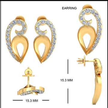 22Kt Yellow Gold Ornet Lace Earrings For Women