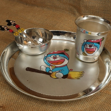 Pure Silver Doremon Dish (Thali)Set
