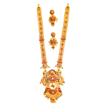 22k gold kalkatti meenakari necklace with earrings mga - gls068