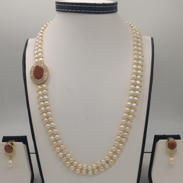 WhiteCZ And SandstoneBroachSet With 2Line ButtonJali Pearls Mala JPS0222