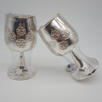 92.5 Sterling Silver Flower Design Wine glasses