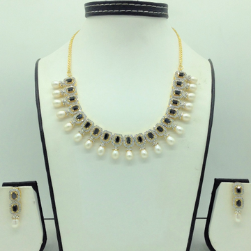 White and Blue CZ Stones And Tear Drop Pearls Neck...