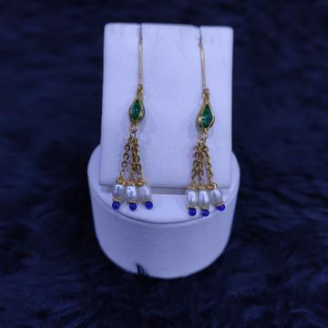 22KT/916 Yellow Gold Modern Srevi Hanging Earrings GTB-9