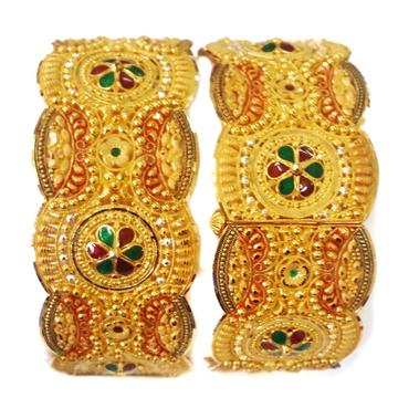 22k gold kalkatti meenakari flower baloya mga -. gp0015