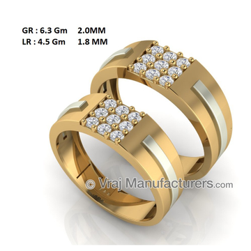 22K Casting Couple Engagement Band with Diamonds