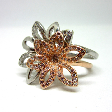 Silver 925 2 in 1 rose gold polis flower shape ring sr925-218