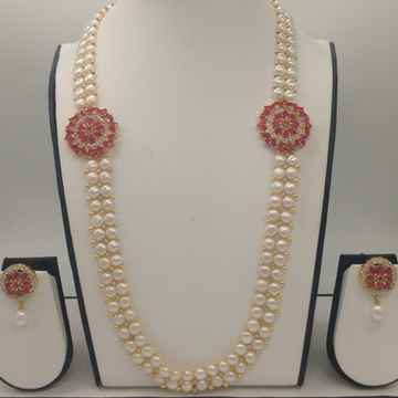 White And Red CZ BroachSet With 2Line ButtonJali Pearls Mala JPS0235