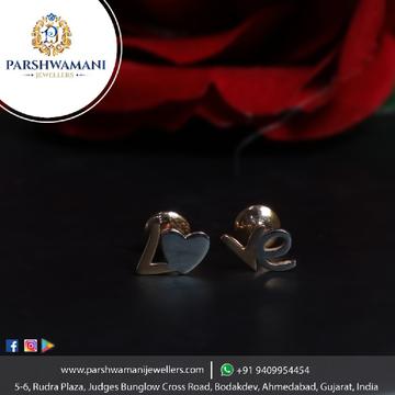 18Kt Gold Rose Tone Heart and Rodiyam Design lovely Earrings for Women