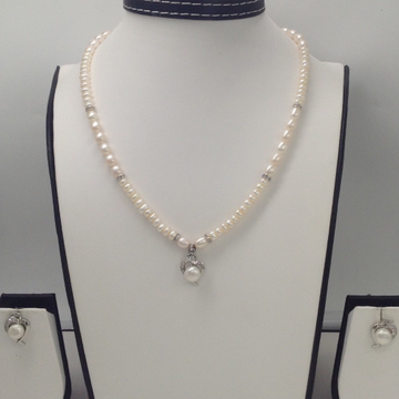 WhiteCZ And Pearls PendentSet With OvalPearls Mala JPS0138
