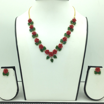 Coral flower and jade leaves necklace set  jnc0119