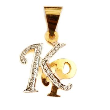 22k gold modern style kp monogram pendant mga - mgp008