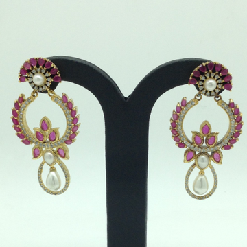White and Red CZ Stones Ear HangingsJER0041