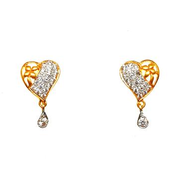 22K Gold Heart Shaped Earrings MGA - BTG0108