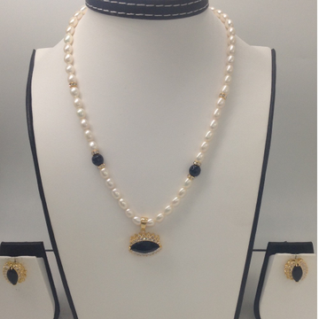 White and black cz pendent set with oval pearls ma...