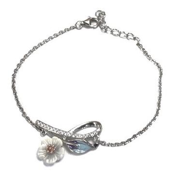 925 Sterling Silver Flower Shake Bracelet MGA - BRS0380