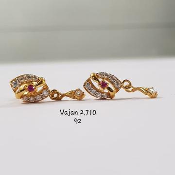 22Kt Gold Cz Fancy Earrings for Women