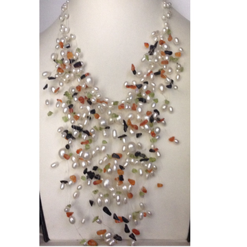 Freshwater White Oval Pearls Jhalar Wire Necklace...