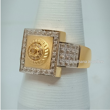 916 Yellow Gold Square Gents Ring