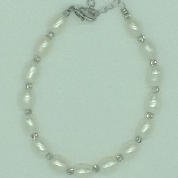 White Oval Pearls With White Balls Alloy Chain Bracelet JBG0146
