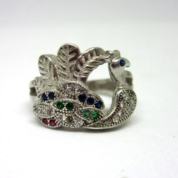 925 silver peacock multi diamond ring sr925-165