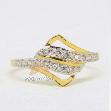 22ct Hallmarked Yellow Gold AD Diamonds Ladies Ring with Rodihum