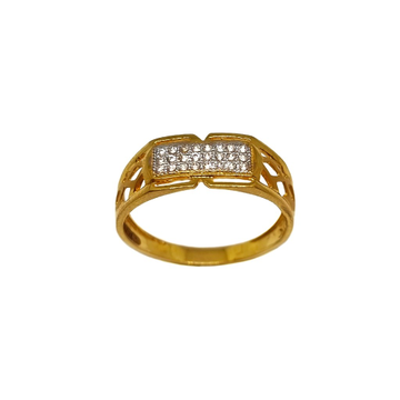 22K Gold Three Line Diamond Gents Ring MGA - GRG0223