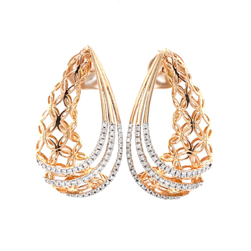 Floral gold cutout with three lines drop earrings...