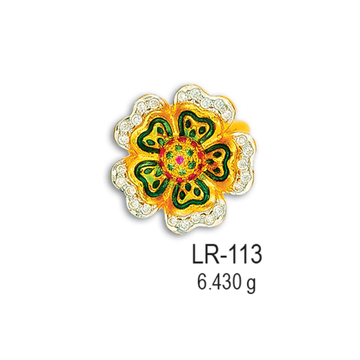 22K-CZ-Gold-Flower-Shape-Colorful-Ladies-Ring-LR-113