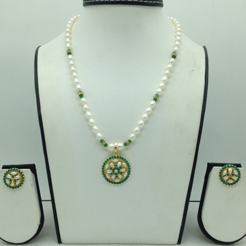 GreenCZPendentSet With 1Line OvalPearls Mala...