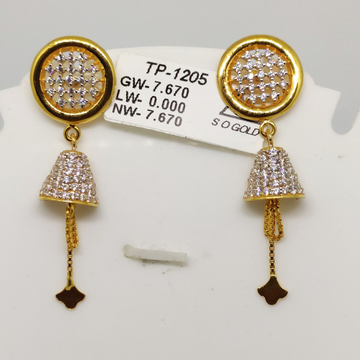 22KT Gold latkan Earring sOG-e002 by S. O. Gold Private Limited