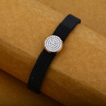 Exclusive 18K Rose Gold Diamond Adjustable Spring Mens Leather Bracelet-MLB11