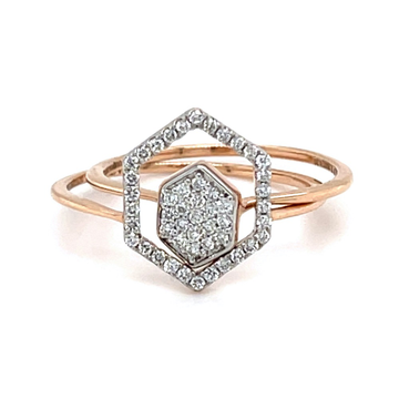 Stackable Hexagon Diamond Ring in 18K Rose Gold -...