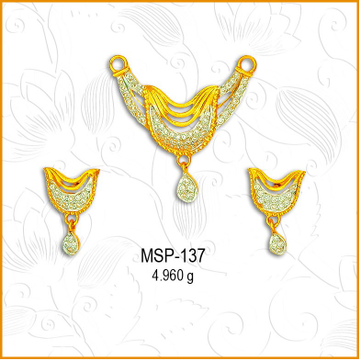 916 Gold Simple CZ Diamond Managlsutra Pendant Set MSP-137