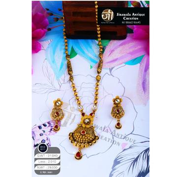 22KT Gold Antique Jadtar Long Necklace Set DKG-0011