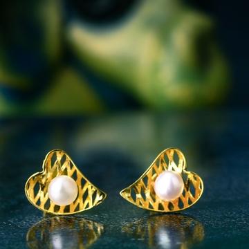 18K Gold Heart Design Pearl Tops