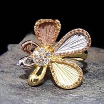 916 Gold Premium 3 Tone Ladies Ring RH-LR45