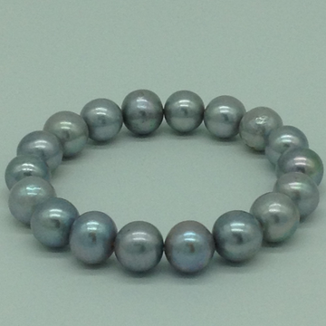 Grey Round Pearls 1 Layer Elastic Bracelet JBG0199