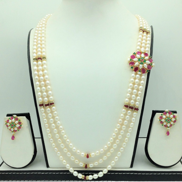 Multicolour BroochSet With 3Lines OvalPearls Ma...