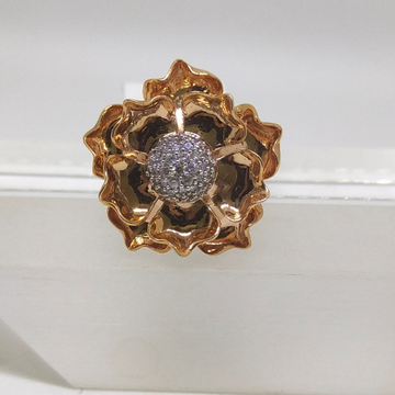 18K rose flower shape rose gold diamond ring