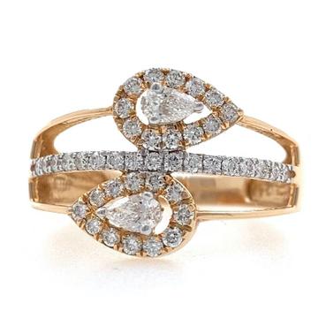18kt / 750 rose gold two drop diamond ladies ring...