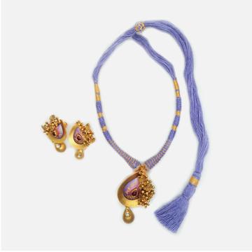 22K Gold Antique Wedding Necklace Set RHJ-4825