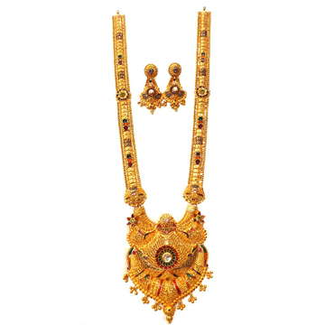 22k Gold Flower Shaped Long Necklace With Earrings...