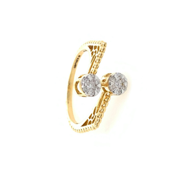 Dual Flower Fancy Diamond Ring in 18k Yellow Gold - 3.080 grams - 23 cents - VVS EF - 0LR56
