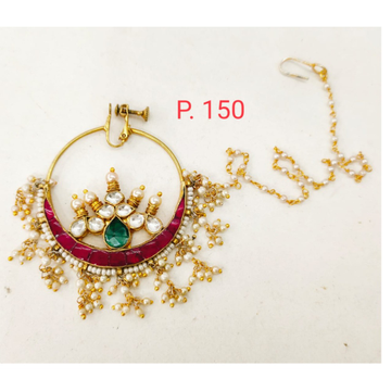 Gold tone red & green nose ring with hanging moti & Pearl chain 1750