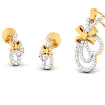 22 Karat, 916 Hall-Marked, Yellow Gold freestyle curves with bow design Pendant With Earrings Set JKP009