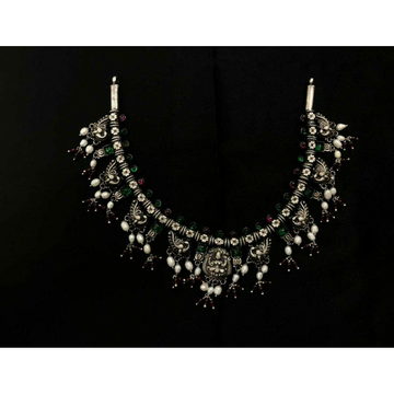 92.5 Sterling Silver Rajwadi Bol Moti Necklace Set Ms-3950