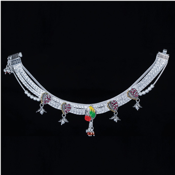 Silver Modern Design Broad Payal by MSK Jewel Art Private Limited