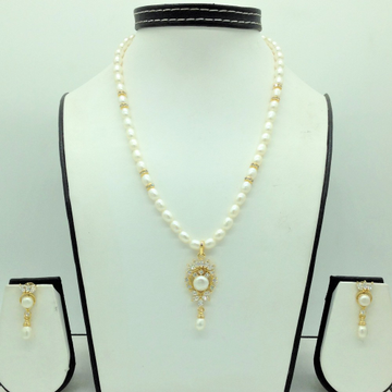 White CZPendentSet With 1Line OvalPearls Mala...