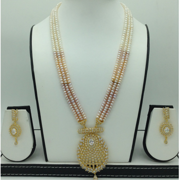White CZExclusive Pendent Set With 3Line FlatPearls Mala JPS0596