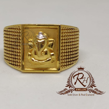 22 carat gold ganpati gents rings Rh-Gr911